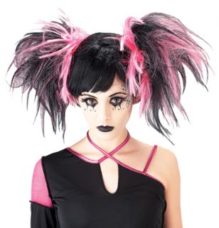 Goth Punk Anime Black Hot Pink Big Pigtails Costume Wig