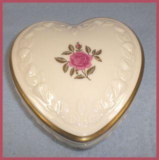 Lenox Fine Porcelain Heart Shaped Rose Trinket Jewelry Box