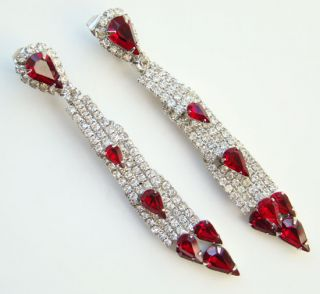 kramer shoulder duster ruby red and clear rhinestone earrings signed