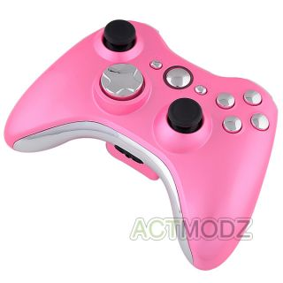 Xbox 360 Glossy Pink Controller Shell with Silver Chrome Buttons Full
