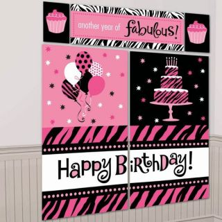 Pink Black Zebra Wall Decorating Kit Birthday Party Supplies