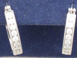 Hearts on Fire 18K White Gold Milgrain Hoop Earrings 44ctw ETRE00408W
