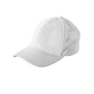 6 Panel Structured Mesh Baseball Cap WHITE   OS Sports