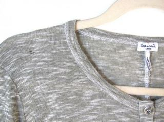 SPLENDID Anthropologie Heather Gray 3/4 Sleeve Henley Neck Shirt sz L