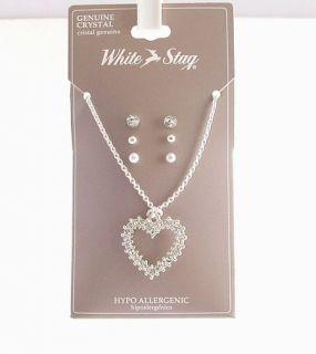 Crystal Heart Sterling Silver EP Pendant Earring Set
