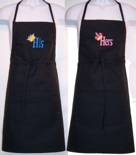 King Queen His Hers Custom Chef Apron Set Wedding