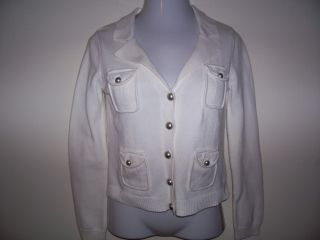 WOMENS**CROP IVORY LONG SLEEVE BUTTON DOWN CARDIGAN SWEATER/JACKET
