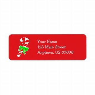 Candy Cane Address Labels (Red)