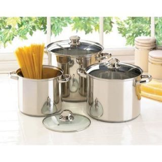 Stainless Steel Stock Pot Set Heavy Duty 3 pots with tempered glass