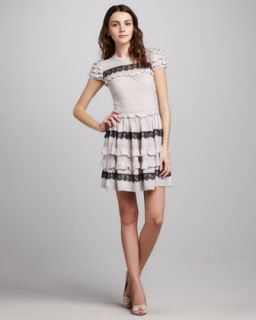 RED Valentino Ruffle Sleeve Knit Dress