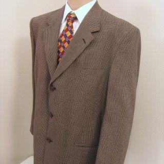 46 R Daniel Hechter Brown Check Plaid Tweed Wool 3 Btn Jacket Sport