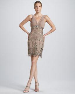 T5M9Z Sue Wong Sleeveless Beaded Cocktail Dress