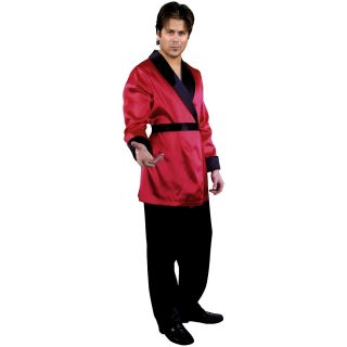 Jacket Adult Mens Red Satin Hugh Hefner Halloween Costume