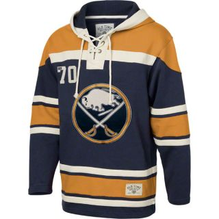 Buffalo Sabres Navy Old Time Hockey Lace Up Jersey Hooded Sweatshirt