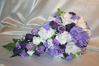 Purple Silk Flower Wedding Bridal Cascade Bouquet Package 21pc
