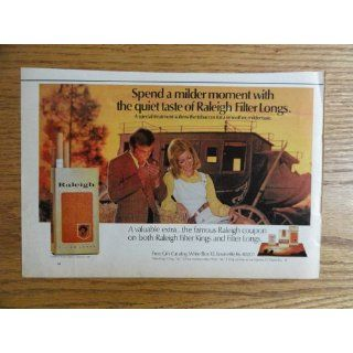 Raleigh cigarettes.1971 print ad (man/woman/stagecoach