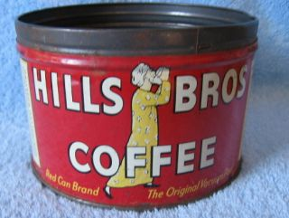 Vtg Coffee Can Hills Bros 1 Pound Tin Copyright 1936 Red Can Brand