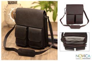 RUGGED Mexico Tooled Leather MESSENGER BAG BRIEFCASE handbag Purse