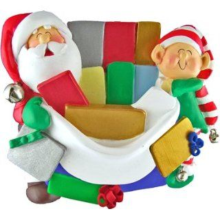 Santa Family Santas Gift with Elf Ornament Personalized