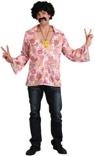 Cool Hippie Shirt Mens 1960s 1970s Fancy Dress Hippy 60s 70s Adult