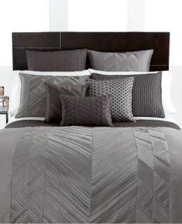 Hotel Collection Bedding Pieced Pintuck Gray Queen Duvet Cover