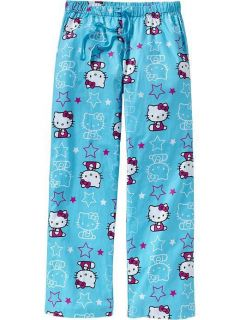 34 New Hello Kitty Pajamas Lounge Pants Blue Print Size s M L Jubiors