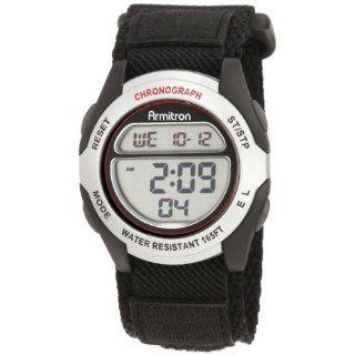 Armitron Mens 408095SIL Chronograph Black Strap Digital Sport Watch