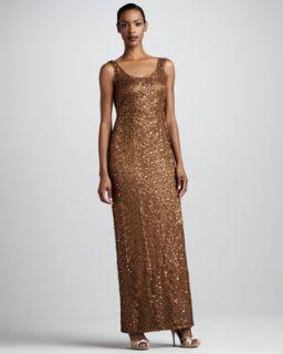 Sue Wong Metallic Beaded Passementerie Dress