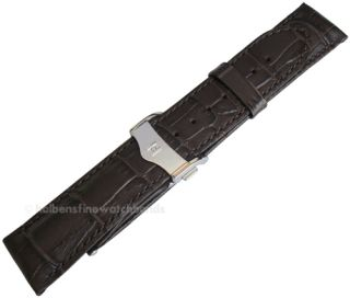 20mm Hirsch LORD Brown Alligator Grain Leather Silver Deployment Watch