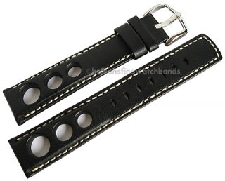 18mm Hirsch Rally GT Black Leather Mens Racing Watch Band Strap
