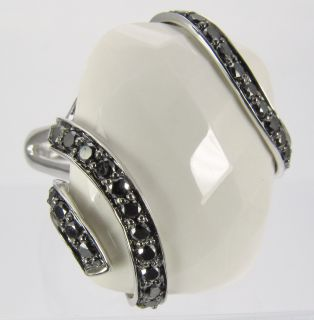 14k White Gold Ring with Black Diamonds and White Onyx