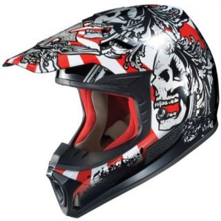 HJC Motorcycle Full Face Helmet SPx Skully Off Road Helmet Red Blk