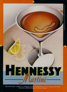 HENNESSY COGNAC AD 1994 HENNESSY MARTINI ART WORK