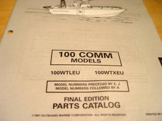 Evinrude Johnson 100 HP Outboard Parts Manual 1997