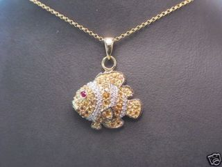 14kt Yellow Gold Clown Fish Pendant with Gemstones