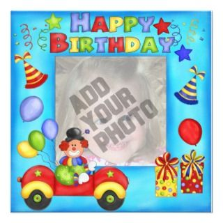 Tarjeta de cumpleaños del payaso de la foto comunicados