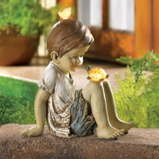 Boy Pet Turtle Solar Light Garden Statue Yard Sculpture Patio Figurine
