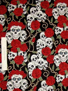 Fabric Skulls Bouquet Black Folklorico   Alexander Henry Cotton YARD