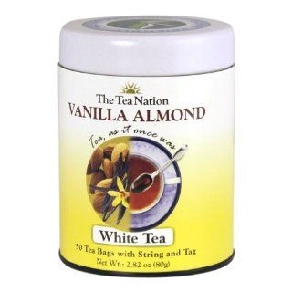 The Tea Nation String and Tag White Tea Bags, Vanilla Almond, 50 Count