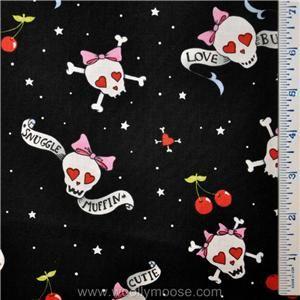 Alexander Henry Snuggle Skull Cross Bones Pink Fabric