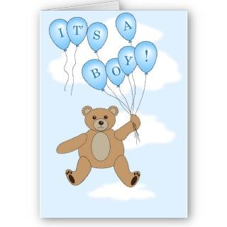 Its A Boy Teddy Bear Round Stickers