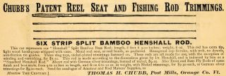 Thomas H. Chubb Fishing Rod Trimmings Henshall   ORIGINAL ADVERTISING