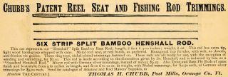 Thomas H. Chubb Fishing Rod Trimmings Henshall   ORIGINAL ADVERTISING