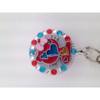 Hello Kitty Heart Id Badge Reel Red White and Blue Bling