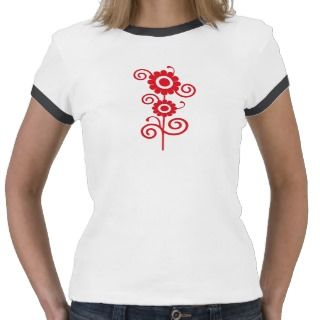 Red and white digital art flowers top t shirt