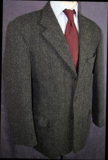 Mens Grey Black Herrinbone Harris Tweed Jacket 42L REF215