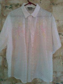 Proudly Plus 3X White Pink Lace Floral Embroidered Shirt Blouse Top