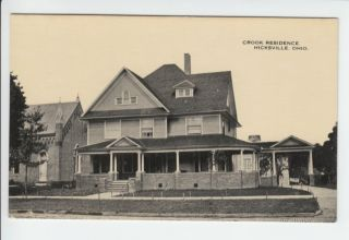 Crook Residence Hicksville Ohio OH Old Postcard Defiance County