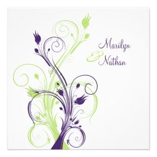 Purple, Green, and White Floral Wedding Program Custom Flyer