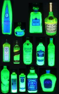 decorate your bar with neon glowing bottles